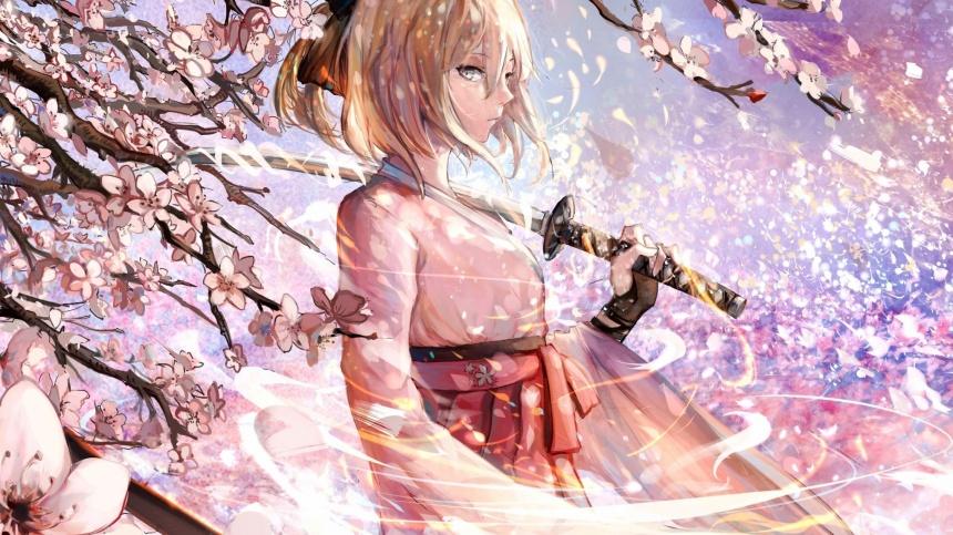 Sakura-Saber-katana-blossom-anime